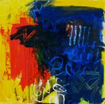 Blue, red and yellow painting
