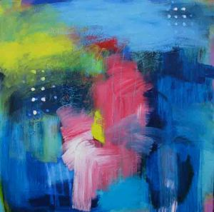 Blue, Pink and yellow abstract painting