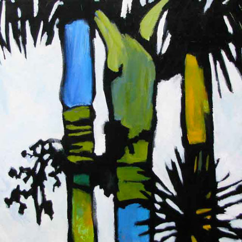 Graphic painting of palm trees in black, white, blue and green