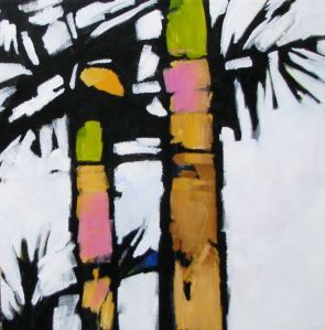 Graphic image of colourful palm trees