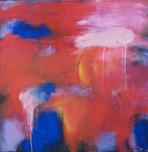 A red and blue abstract painting