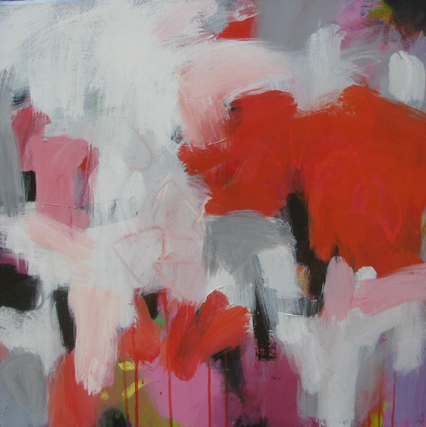 A painting with red and white abstract forms