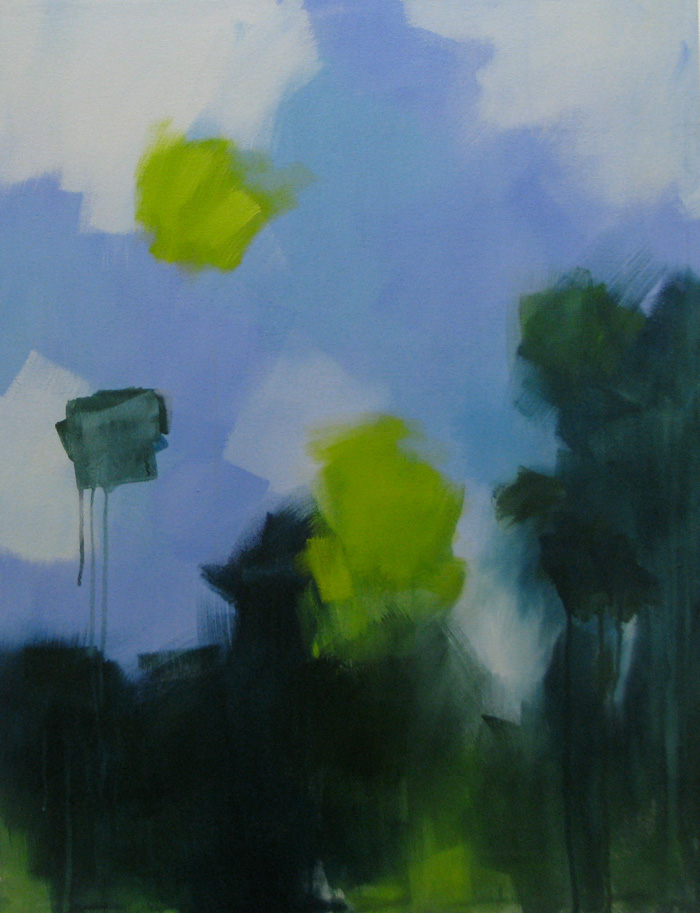 Abstraction in dark green and blue