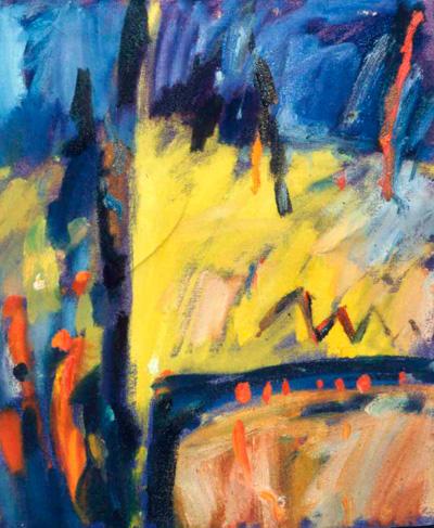 Yellow, blue and orange landscape