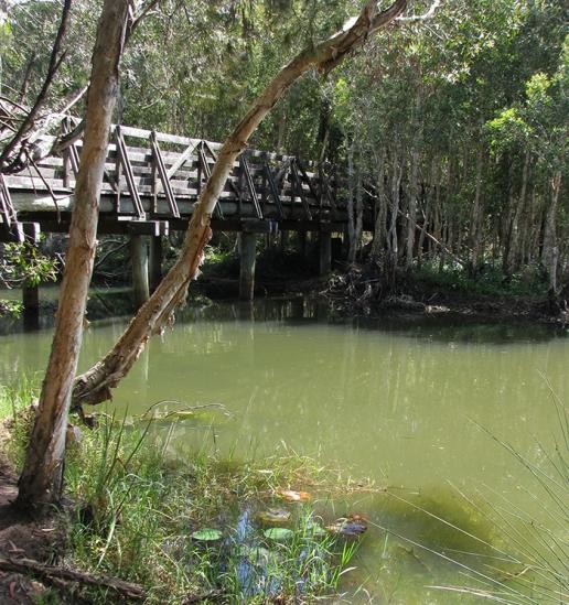 Across the lagoon to the bridge