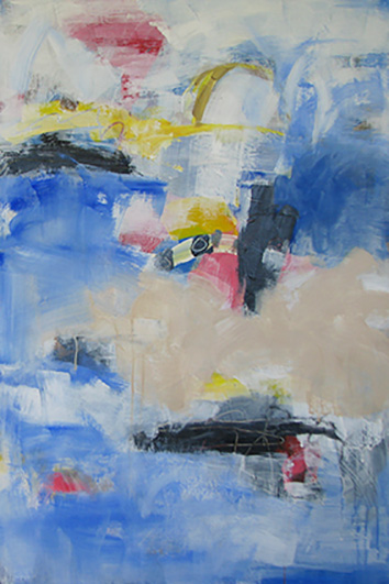 "Little boat harbour"" is an abstract acrylic painting insight colours of white blue, yellow, pink and beige."