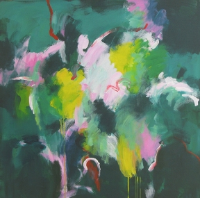 An abstract painting in greens, pinks and yellow