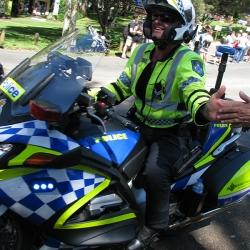 High fiving cop