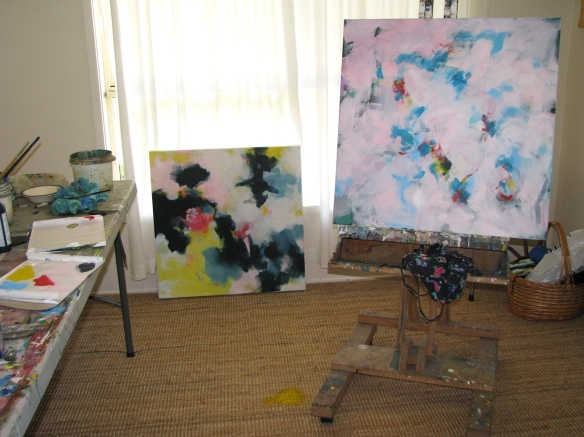 Pastel coloured abstract paintings in my art studio