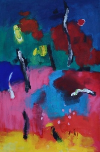A bright coloured abstract painting